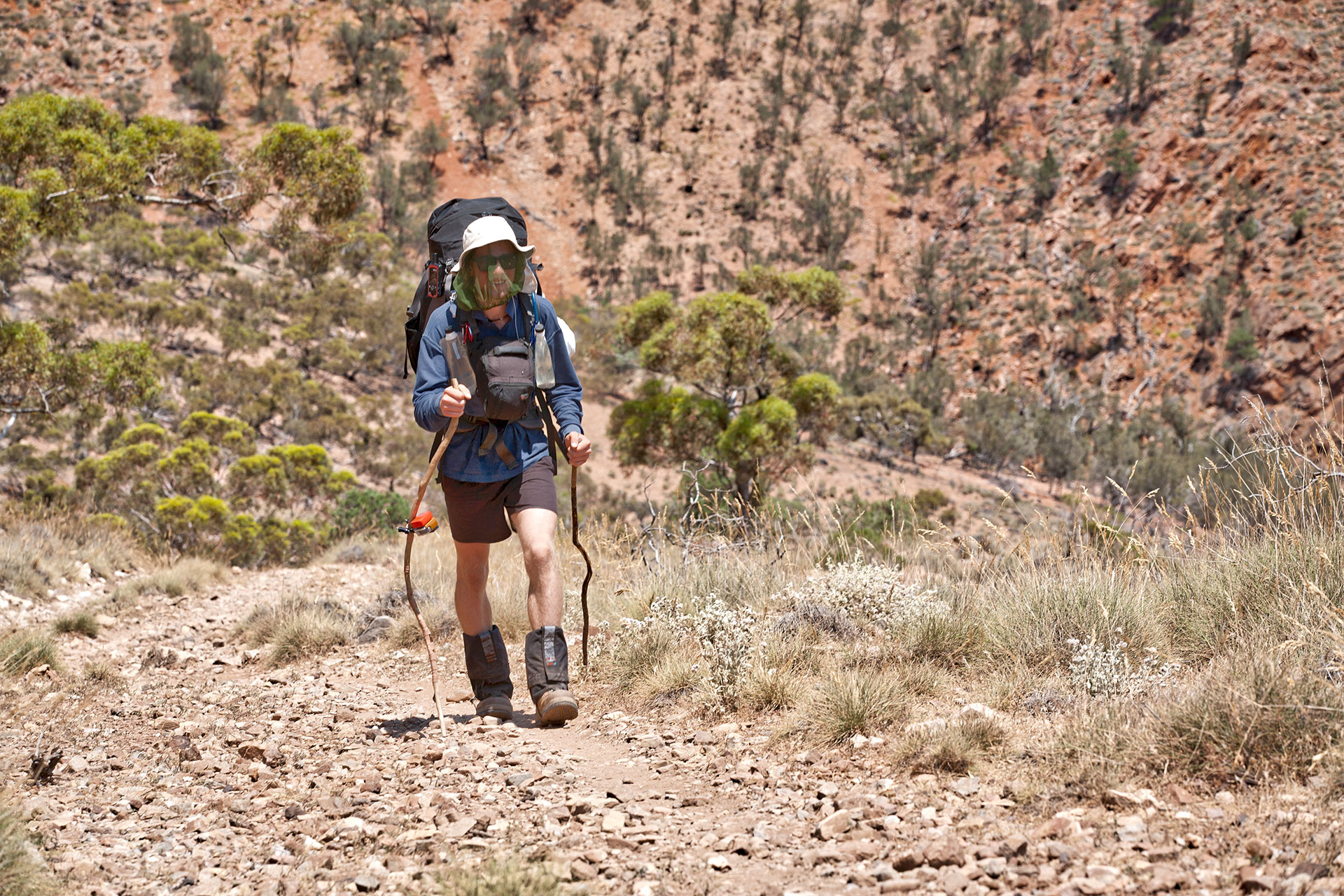 Dan March-Feltham on the Wilkatana section of the Heysen Trail - On day 55+. - photo by Tim Froling